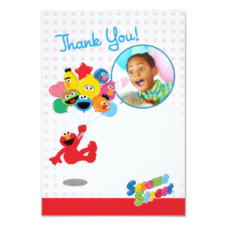 Elmo e obrigado customizável dos balões dos amigos convite 8.89 x 12.7cm