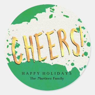 Elogios! Verde e ouro boas festas Adesivo