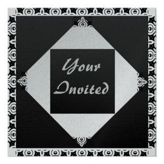Eloquência de prata & preta convites personalizado