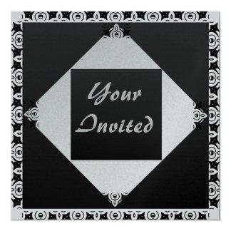 Eloquência de prata & preta convite quadrado 13.35 x 13.35cm