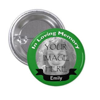 Em botão Loving do verde da foto da memória Bóton Redondo 2.54cm