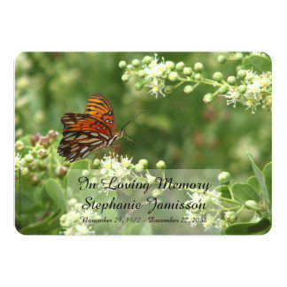 Em convite Loving do serviço da memória, borboleta Convite 12.7 X 17.78cm