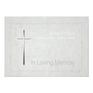 Em cruz Loving da prata da memória - funeral 3 Convite 12.7 X 17.78cm
