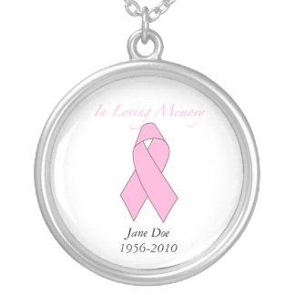 Em memória Loving, cancro da mama Colar Banhado A Prata