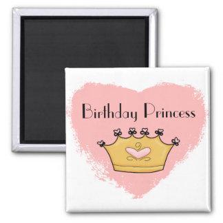 Em meu ímã cor-de-rosa da princesa feliz ímã quadrado