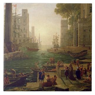 Embarque de St. Paula Romana em Ostia, 1637-39 Azulejos De Cerâmica