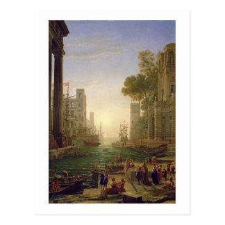 Embarque de St. Paula Romana em Ostia, 1637-39 Cartão Postal