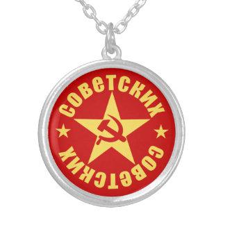 Emblema soviético da estrela do martelo & da foice colar banhado a prata