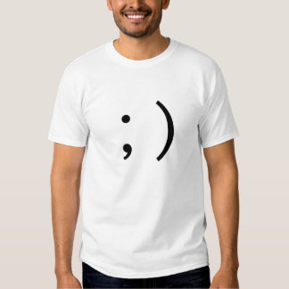 ;) Emoticon lateral do texto de Winky do piscar os Tshirt