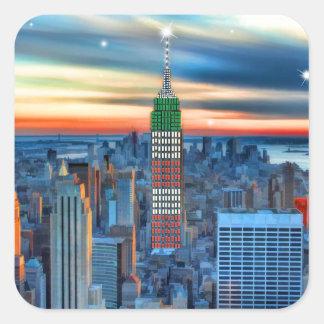 Empire State Building em luzes do feriado Adesivos Quadrados