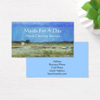 Empregada doméstica minúscula da limpeza da cartão de visitas