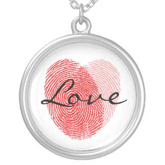 Encanto da lembrança do amor da impressão digital colar com pendente redondo