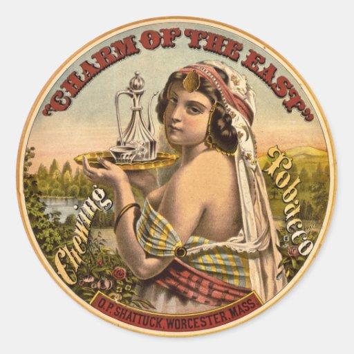Encanto do anúncio do leste 1872 do tabaco de adesivos em formato redondos