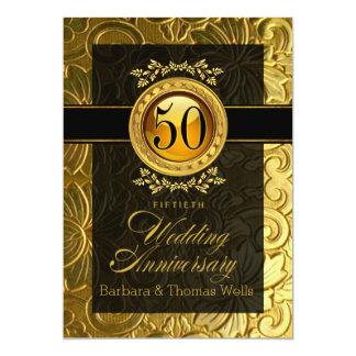 Encanto elegante 50th aniversário gravado convite 12.7 x 17.78cm