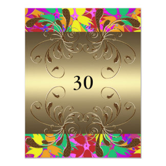 Encanto floral do ouro do aniversário do convite