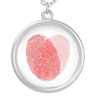 Encanto quadrado da lembrança da impressão digital colar com pendente redondo