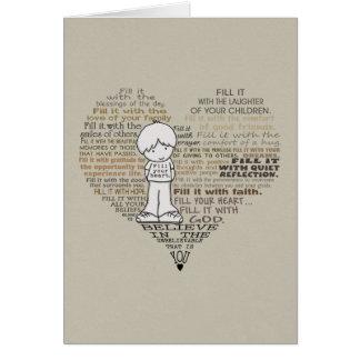 Encha seu Coração-Tan Cartão Comemorativo