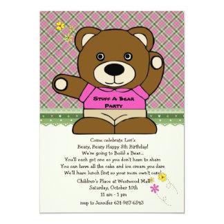 Encha um rosa do partido do urso convite 12.7 x 17.78cm