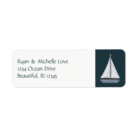 Endereço azul e branco do veleiro náutico etiqueta endereço de retorno