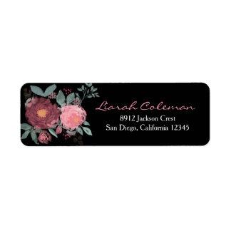 Endereço do remetente floral da aguarela pintado etiqueta endereço de retorno