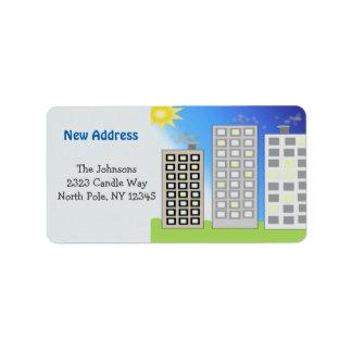 Endereço novo das construções altas etiqueta de endereço