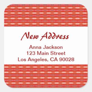 Endereço novo vermelho adesivo quadrado