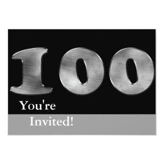 Enegreça o número de prata 100 do 100th convite 12.7 x 17.78cm