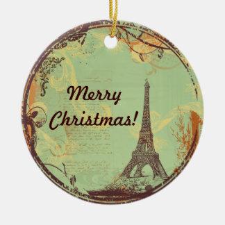 Enfeites de natal da torre Eiffel no verde
