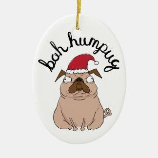 Enfeites de natal engraçados do Pug do papai noel