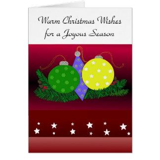 Enfeites de natal festivos cartão