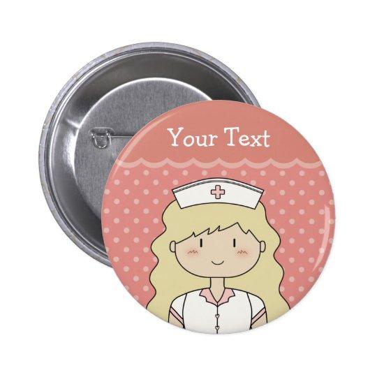 Enfermeira bonito com cabelo ondulado bóton redondo 5.08cm