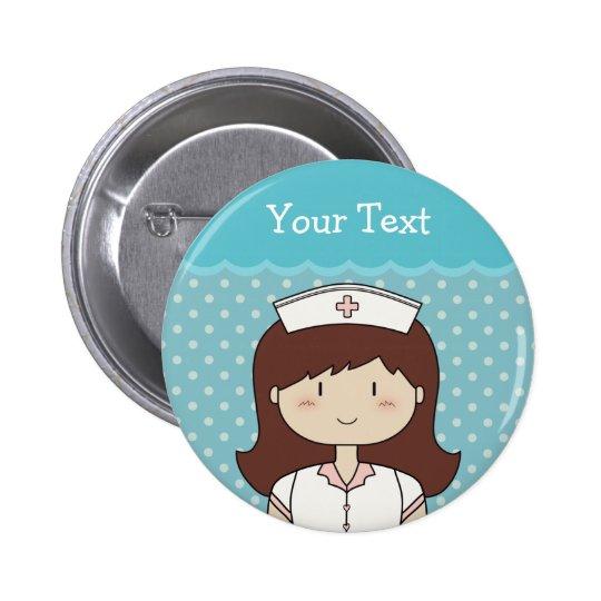 Enfermeira bonito dos desenhos animados bóton redondo 5.08cm