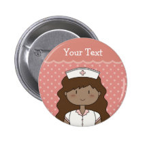 Enfermeira bonito dos desenhos animados (brunette) boton