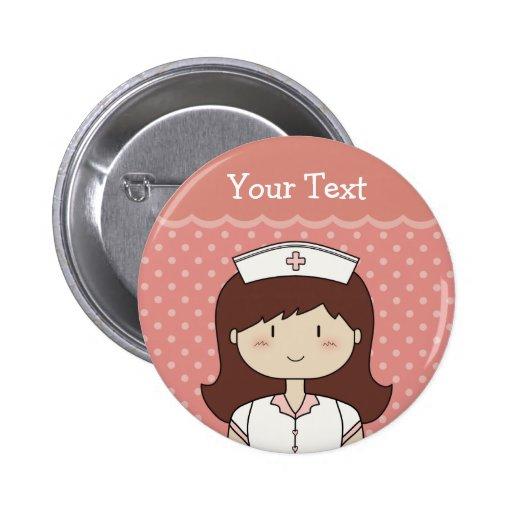 Enfermeira bonito dos desenhos animados (brunette) bóton redondo 5.08cm
