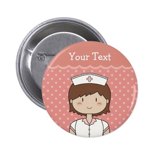 Enfermeira com cabelo marrom curto bóton redondo 5.08cm