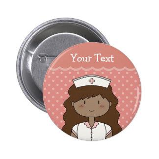 Enfermeira dos desenhos animados com cabelo bóton redondo 5.08cm