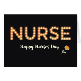 Enfermeira, enfermeiras dia, letras da ampola do cartão