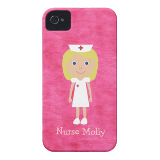 Enfermeira loura bonito rosa personalizado iPhone 4 capa