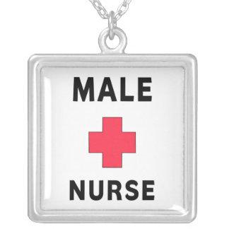 Enfermeira masculina colar com pendente quadrado