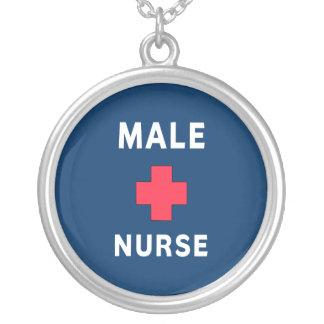 Enfermeira masculina colar com pendente redondo