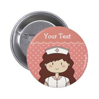 Enfermeira triguenha bóton redondo 5.08cm