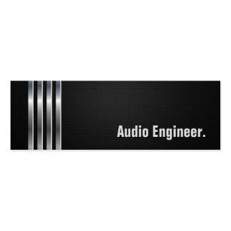 Engenheiro audio - listras de prata pretas cartão de visita skinny