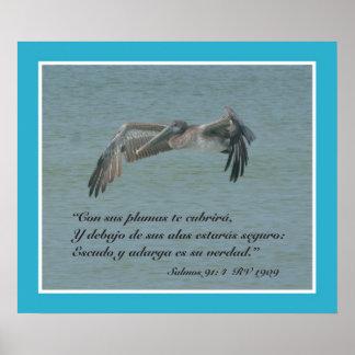 Engodo Pelicano Volando do 91:4 de Salmos (cartel) Pôster