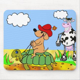engraçados cão, tartaruga, e vaca mousepad