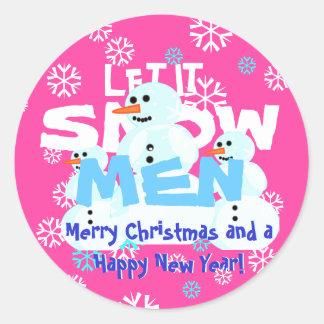 Engraçados cor-de-rosa femininos deixaram-no nevar adesivo