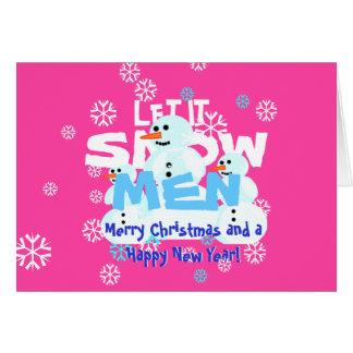 Engraçados cor-de-rosa femininos deixaram-no nevar cartão comemorativo