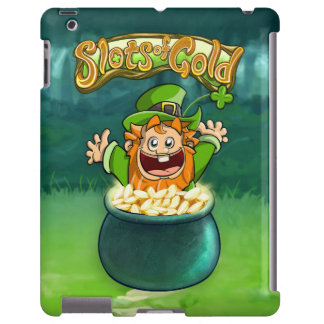 Entalhes do caso do iPad do jackpot do ouro Capa Para iPad