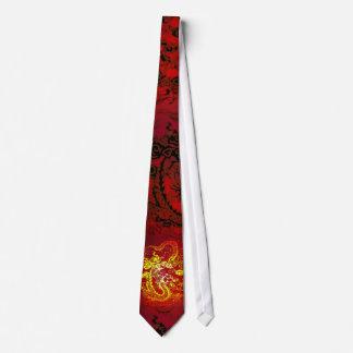 Entre no laço vermelho do fogo do dragão gravata