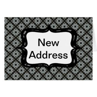 Entrecruzamento cinzento do endereço novo cartão comemorativo