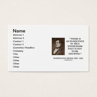 Entusiasmo verdadeiro de Washington Irving para Cartão De Visitas